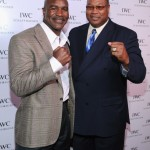 Boxers Evander Holyfield and Larry Holmes